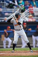 West Virginia Black Bears right fielder Jordan George (3) at bat during a game against the Batavia Muckdogs on June 28, 2016 at Dwyer Stadium in Batavia, New York.  Batavia defeated West Virginia 3-1.  (Mike Janes/Four Seam Images)
