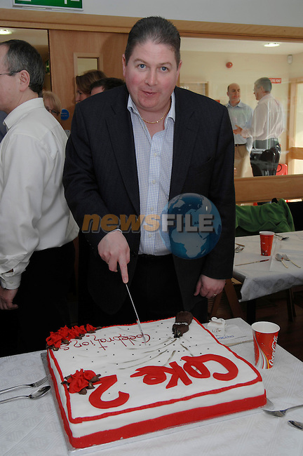 23rd October, 2006. Official opening of CPS (Coke 2) building, Donore Road, Drogheda. .Photographed at the above cutting the cake is Mark Ferguson (General Manager, CPS Ireland).Photo: BARRY CRONIN/Newsfile..(Photo credit should read BARRY CRONIN/NEWSFILE).<br />