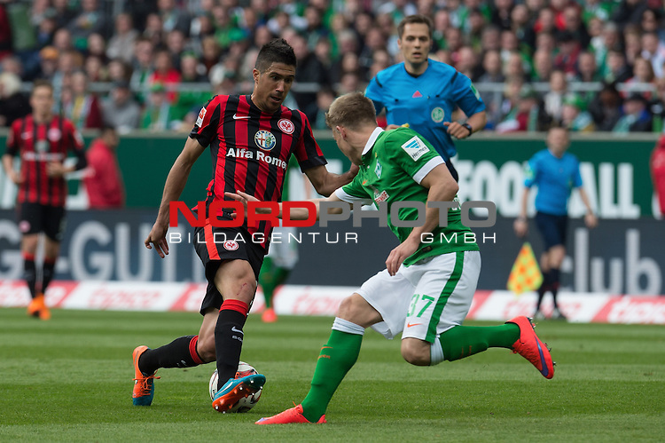 02.05.2015, Weser Stadion, Bremen, GER, 1.FBL. Werder Bremen vs Eintracht Frankfurt, im Bild<br /> <br /> <br /> <br /> Slobodan Medojevic (Eintracht Frankfurt)<br /> Janek Sternberg (Bremen #37)<br /> <br /> Foto &copy; nordphoto / Kokenge