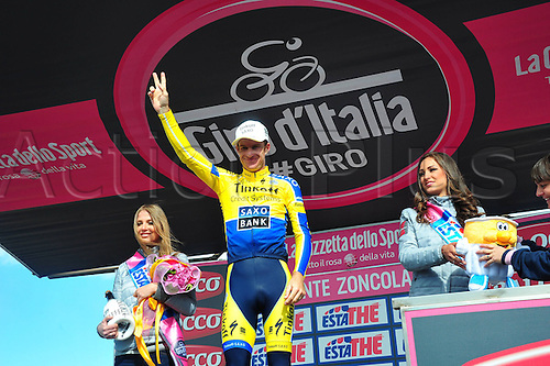 31.05.2014, Maniago to Monte Zoncolan, Italy. Giro D Italia Stage 20.  Tinkoff - Saxo 2014, Rogers Michael on the winners podium in Monte Zoncolan
