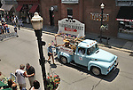 Vintage truck carrying the Saugerties Farmers Market group seen on Partition Street in the Annual July 4th Parade in Saugerties, NY, on Wednesday, June 4, 2012. Photograph taken by Jim Peppler. Copyright Jim Peppler/2012