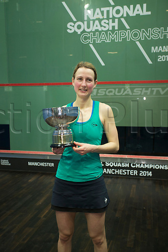 16.02.2014 Manchester, England. Alison Waters celebrates her 3-0 victory over Madeline Perry in the Womens Final of The British National Squash Championships from the National Squash Centre.