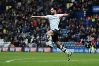 Greg Cunningham of Preston North End celebrates his equaliser during Preston North End vs Hull City, Sky Bet EFL Championship Football at Deepdale on 3rd February 2018