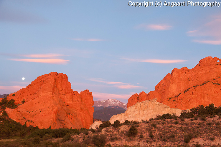 First light and moonset with Pike's Peak, Garden of the Gods, Colorado Springs