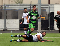 Pictured: Owain Jones of Swansea (C) equalises for his team, making the score 1-1 Saturday 11 July 2015<br />
