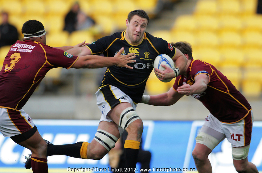 Jeremy Thrush takes the ball up during the ITM Cup rugby union match between Wellington Lions and Southland Stags at Westpac Stadium, Wellington, New Zealand on Sunday, 2 September 2012. Photo: Dave Lintott / lintottphoto.co.nz