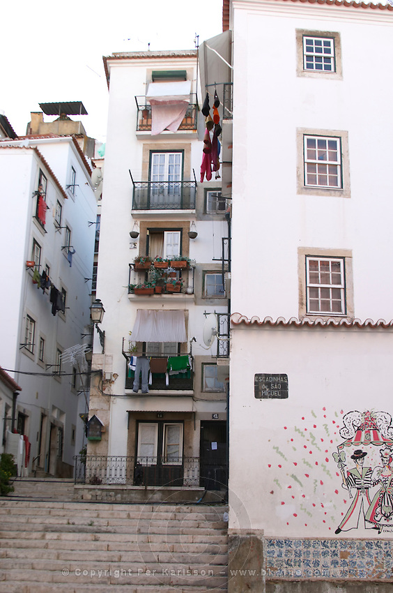 houses and narrow streets alfama district lisbon portugal