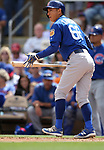 Chicago Cubs' Munenori Kawasaki bats in a spring training game against the Arizona Diamondbacks in Phoenix, AZ, on Thursday, March 23, 2017.<br /> Photo by Cathleen Allison/Nevada Photo Source