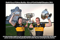 Kings of the Castle.... Dr Crokes players Daithi Casey, left and Johnny Buckley who have the unique achievement of winning the Kerry County Football Championship (Dr Crokes) and the Cork County Football Championship (UCC) in the same year and also won the Sigerson Cup for good measure. The players are pictured at Ross castle, Killarney ahead of training for next Sunday's Munster Football Clash against Ballincourty in Dungarvan.<br /> Picture by Don MacMonagle