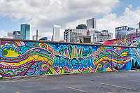 Houston has a whole section in downtown where there are many buildings with these great graffiti murals where you can actually see the skyline in the background of the city that are quite good.  From here you can see the second tallest building in downtown Houston the Wells Fargo building.  To see more of these images please go to our Houston Lifestyles and street scenes section.