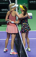 AGNIESZKA RADWANSKA (POL), CAROLINE WOZNIACKI (DEN)<br /> <br /> The BNP Paribas WTA Finals 2014 - The Sports Hub - Singapore - WTA  2014  <br /> <br /> 23 October 2014<br /> <br /> &copy; AMN IMAGES