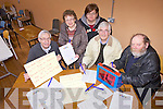 Getting ready for their third annual charity bingo in aid of Listowel Community Hospital Hospice Care Unit on May 10th in Ballyduff Community Centre were: Gabriel Browne, Anne Campbell, Josephine Kennelly, Irwel (Tony) Jones and Tom Joe O'Carroll.