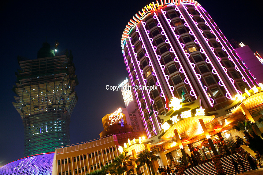 The Lisboa Hotel and casino at night in Macau.<br /> May 08, 2007