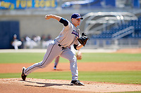Jacksonville Jumbo Shrimp starting pitcher Max Duval (43) delivers a pitch during a game against the Biloxi Shuckers on May 6, 2018 at MGM Park in Biloxi, Mississippi.  Biloxi defeated Jacksonville 6-5.  (Mike Janes/Four Seam Images)