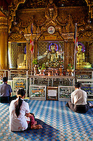 Myanmar, Burma, Yangon.  Sule Pagoda.  Early-Morning Worshipers Praying at Buddha Shrine.