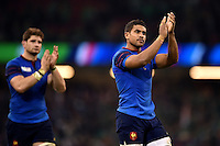 Wesley Fofana of France acknowledges the crowd after the match. Rugby World Cup Pool D match between France and Ireland on October 11, 2015 at the Millennium Stadium in Cardiff, Wales. Photo by: Patrick Khachfe / Onside Images