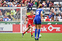 Portland, Oregon - Sunday May 29, 2016: Portland Thorns FC defender Emily Menges (4). The Portland Thorns play the Seattle Reign during a regular season NWSL match at Providence Park.