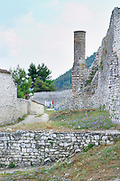Ruins of the 'Red Mosque' Berat upper citadel old walled city. Albania, Balkan, Europe.