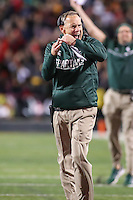 College Park, MD - October 22, 2016: Michigan State Spartans head coach Mark Dantonio calls a timeout during game between Michigan St. and Maryland at  Capital One Field at Maryland Stadium in College Park, MD.  (Photo by Elliott Brown/Media Images International)