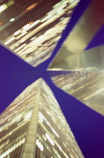 AVAILABLE FROM JEFF AS A FINE ART PRINT<br /> <br /> AVAILABLE FOR COMMERCIAL AND EDITORIAL LICENSING FROM GETTY IMAGES.  Please go to www.gettyimages.com and search for image # 10173587<br /> <br /> Upward View of the World Trade Center at Night - September 2000, New York City, New York State, USA