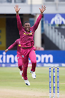 Sheldon Cottrell (West Indies) appeals for LBW against Quinton de Kock  (South Africa) during South Africa vs West Indies, ICC World Cup Warm-Up Match Cricket at the Bristol County Ground on 26th May 2019