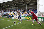 Middlesbrough winger Grant Leadbitter prepares to take a corner at the Victoria Ground, Hartlepool, during a pre-season friendly between his team and Hartlepool United. Hartlepool were relegated to League Two at the end of the 2012-13 season whilst their Teesside neighbours remained two divisions above them in the Championship. The game ended in a no-score draw, the home team's goalkeeper Scott Flinders saving a second-half penalty from Boro's Lucas Jutkiewicz, watched by a crowd of 2307.