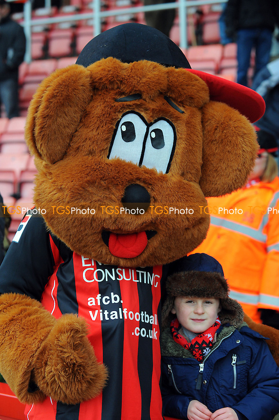 AFC Bournemouth mascot with a young fan - AFC Bournemouth vs Scunthorpe United - NPower League One Football at the Goldsands Stadium, Dean Court - 01/04/13 - MANDATORY CREDIT: Denis Murphy/TGSPHOTO - Self billing applies where appropriate - 0845 094 6026 - contact@tgsphoto.co.uk - NO UNPAID USE.