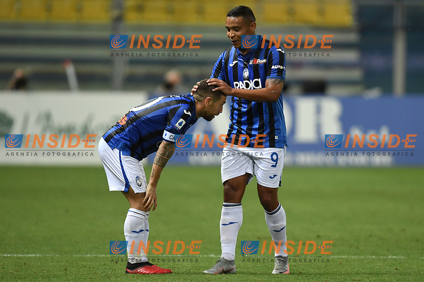 Alejandro Papu Gomez of Atalanta BC celebrates with Luis Muriel after scoring the goal of 1-2 during the Serie A football match between Parma Calcio and Atalanta BC at Ennio Tardini stadium in Parma (Italy), July 28th, 2020. Play resumes behind closed doors following the outbreak of the coronavirus disease. Photo Andrea Staccioli / Insidefoto