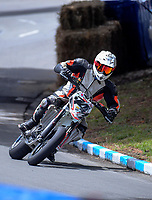 Duncan Hart (Tauranga) competes in Supermoto race one during the 2018 Suzuki series Cemetery Circuit motorcycle racing at Cooks Gardens in Wanganui, New Zealand on Wednesday, 28 December 2018. Photo: Dave Lintott / lintottphoto.co.nz