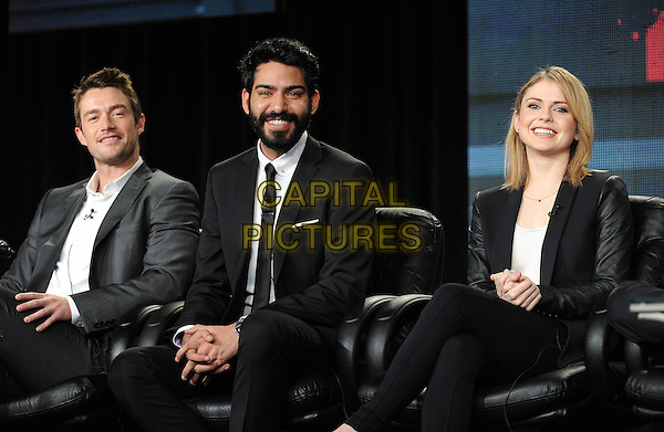 PASADENA, CA - JANUARY 11: (L-R) Robert Buckley, Rahul Kohl, and Rose Melver attend the iZombie presentation at the CW 2015 Winter Television Critics Association (TCA) press tour at The Langham Huntington Hotel and Spa on January 11, 2015 in Pasadena, California. <br /> CAP/MPI/PGFM<br /> &copy;PGFM/MPI/Capital Pictures