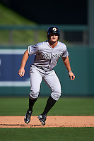 Glendale Desert Dogs outfielder Adam Engel (10) leads off second during an Arizona Fall League game against the Surprise Saguaros on October 23, 2015 at Salt River Fields at Talking Stick in Scottsdale, Arizona.  Glendale defeated Surprise 9-6.  (Mike Janes/Four Seam Images)