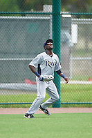 GCL Rays left fielder Ryan Calloway (49) catches a fly ball during the first game of a doubleheader against the GCL Red Sox on August 9, 2016 at JetBlue Park in Fort Myers, Florida.  GCL Rays defeated GCL Red Sox 5-4.  (Mike Janes/Four Seam Images)
