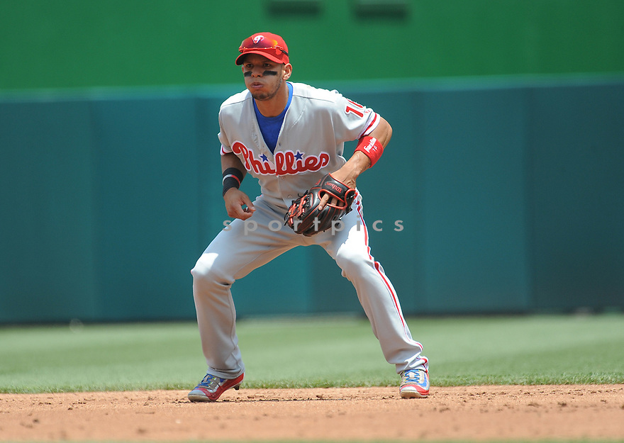 Philadelphia Phillies Cesar Hernandez (16) during a game against the Washington Nationals on June 11, 2016 at Nationals Park in Washington, DC. The Nationals beat the Phillies 8-0.