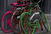 Bicycles advertising shops in London , February 2011.pic copyright Steve Behr / Stockfile