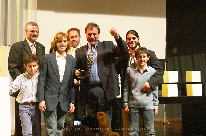 The Pisano family collecting the Uruguay Cata d'Or prize medals Catad'Or of Uruguay, Montevideo, Uruguay, South America Bodega Pisano Winery, Progreso, Uruguay, South America