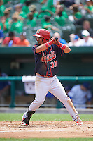 Peoria Chiefs shortstop Jose Martinez (37) at bat during the first game of a doubleheader against the South Bend Cubs on July 25, 2016 at Four Winds Field in South Bend, Indiana.  South Bend defeated Peoria 9-8.  (Mike Janes/Four Seam Images)