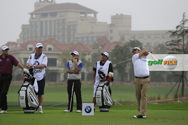 Felipe Aguilar (CHI) tees off the 6th tee during Saturay's Round 3 of the 2014 BMW Masters held at Lake Malaren, Shanghai, China. 1st November 2014.<br /> Picture: Eoin Clarke www.golffile.ie