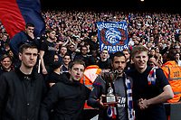 Luka Milivojevic of Crystal Palace poses with fans and the award presented to him during the EPL - Premier League match between Crystal Palace and West Bromwich Albion at Selhurst Park, London, England on 13 May 2018. Photo by Carlton Myrie / PRiME Media Images.
