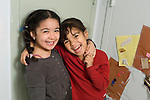 Preschool Headstart New York City 4 year olds portrait of two girls who are friends horizontal