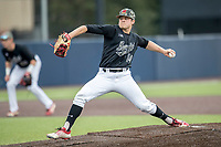 Maryland Terrapins pitcher Grant Burleson (14) delivers a pitch to the plate against the Michigan Wolverines on April 13, 2018 in a Big Ten NCAA baseball game at Ray Fisher Stadium in Ann Arbor, Michigan. Michigan defeated Maryland 10-4. (Andrew Woolley/Four Seam Images)