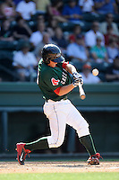 Designated hitter Kevin Mager (24) of the Greenville Drive bats in a game against the Savannah Sand Gnats on Sunday, June 22, 2014, at Fluor Field at the West End in Greenville, South Carolina. Greenville won, 7-3. (Tom Priddy/Four Seam Images)