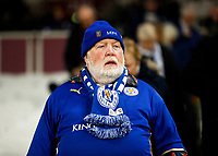 28th December 2019; London Stadium, London, England; English Premier League Football, West Ham United versus Leicester City; Leicester City fan watches on from the away stands  - Strictly Editorial Use Only. No use with unauthorized audio, video, data, fixture lists, club/league logos or 'live' services. Online in-match use limited to 120 images, no video emulation. No use in betting, games or single club/league/player publications