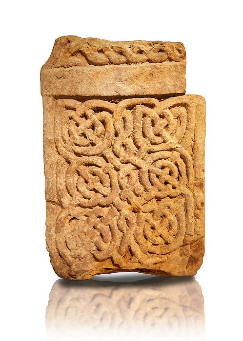 Anglo Saxon cross shaft fragment - 800-899. The sculptures in the sandstone cross are geomentric patterns known as interlace or knot-work. Lindisfarne Abbey Museum, Holy Island, Northumberland, England