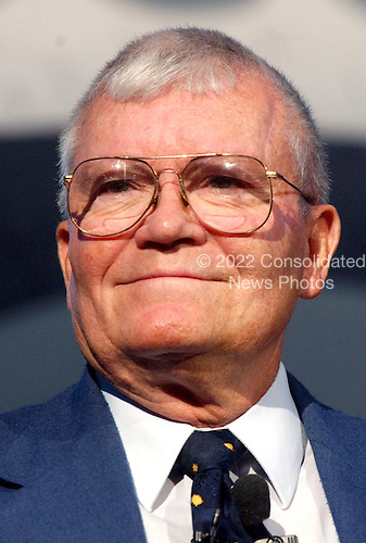 "Former astronaut Fred Haise appears at the first anniversary celebration of the Smithsonian National Air and Space Museum Steven F. Udvar-Hazy Center in Chantilly, Virginia on December 11, 2004.  From April 1973 to January 1976, he was technical assistant to the Manager of the Space Shuttle Orbiter Project. He was commander of one of the two 2-man crews who piloted space shuttle approach and landing test (ALT) flights during the period June through October 1977. This series of critical orbiter flight tests involved initially Boeing 747/orbiter captive-active flights, followed by air-launched, unpowered glide, approach, and landing tests (free flights). There were 3 captive mated tests with the orbiter ""Enterprise"" carried atop the Boeing 747 carrier aircraft, allowing inflight low-altitude and low-speed test and checkout of flight control systems and orbiter controls, and 5 free flights which permitted extensive evaluations of the orbiter's subsonic flying qualities and performance characteristics during separation, up and away flight, flare, landing, and rollout--providing valuable real-time data duplicating the last few minutes of an operational shuttle mission.  The shuttle Enterprise is the centerpiece of the James S. McDonnell Space Hanger at the center.  Haise was the lunar module pilot on Apollo 13 (April 11-17, 1970) and has logged 142 hours and 54 minutes in space.  This mission was the inspiration for the hit 1995 movie ""Apollo 13"".  Bill Paxton played the role of Mr. Haise in the movie..Credit: Ron Sachs / CNP.(RESTRICTION: NO New York or New Jersey Newspapers or newspapers within a 75 mile radius of New York City)"