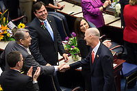 TALLAHASSEE, FLA. 3/3/15-After delivering the State of the State address Gov. Rick Scott, right, shakes hands with Sen. Don Gaetz, R-Niceville, left, as Rep. Clay Ingram, R-Pensacola, upper left, and Rep. Dana Young, R-Tampa, Tuesday at the Capitol in Tallahassee. Rep. Eric Eisnaugle, R-Orlando is seen lower left.<br /> <br /> COLIN HACKLEY PHOTO