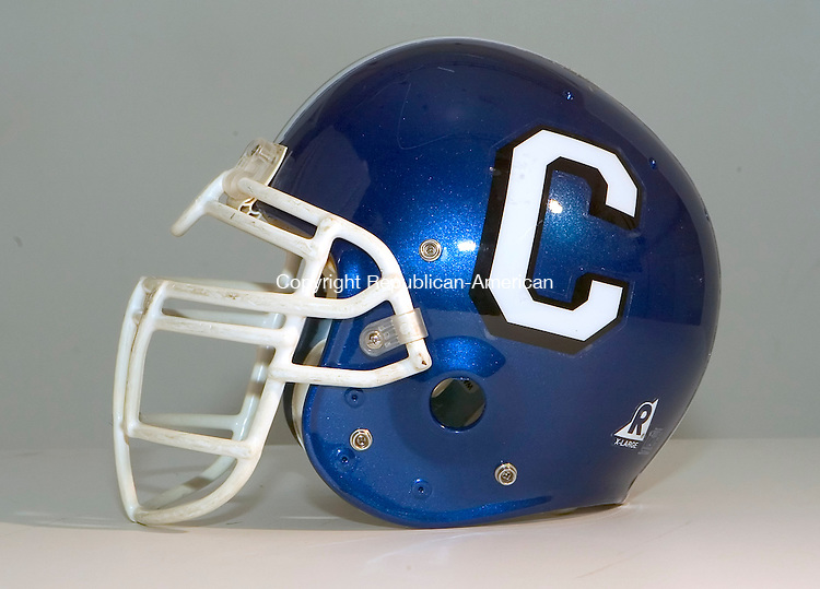 WATERBURY, CT- 19 OCTOBER 2008 --101908JS01--Crosby High School football helmet. <br /> Jim Shannon / Republican-American