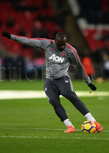 31st January 2018, Wembley Stadium, London England; EPL Premier League football, Tottenham Hotspur versus Manchester United; Romelu Lukaku of Manchester United during shooting practise during pre match warm up