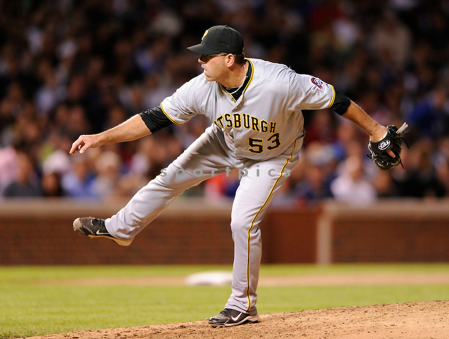 BRENDAN DONNELLY,  of the Pittsburgh Pirates,  in action  during the Pirates  game against the Chicago Cubs  in Chicago, Illinois on June 29, 2010. The Chicago Cubs beat the Pirates 3-1..