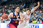 Real Madrid's player Maciulis and Barcelona's player Satoransky during Liga Endesa 2015/2016 Finals 3rd leg match at Barclaycard Center in Madrid. June 20, 2016. (ALTERPHOTOS/BorjaB.Hojas)