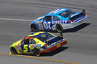 May 6, 2007; Richmond, VA, USA; Nascar Nextel Cup Series driver Clint Bowyer (07) races alongside Kyle Busch (5) during the Jim Stewart 400 at Richmond International Raceway. Mandatory Credit: Mark J. Rebilas